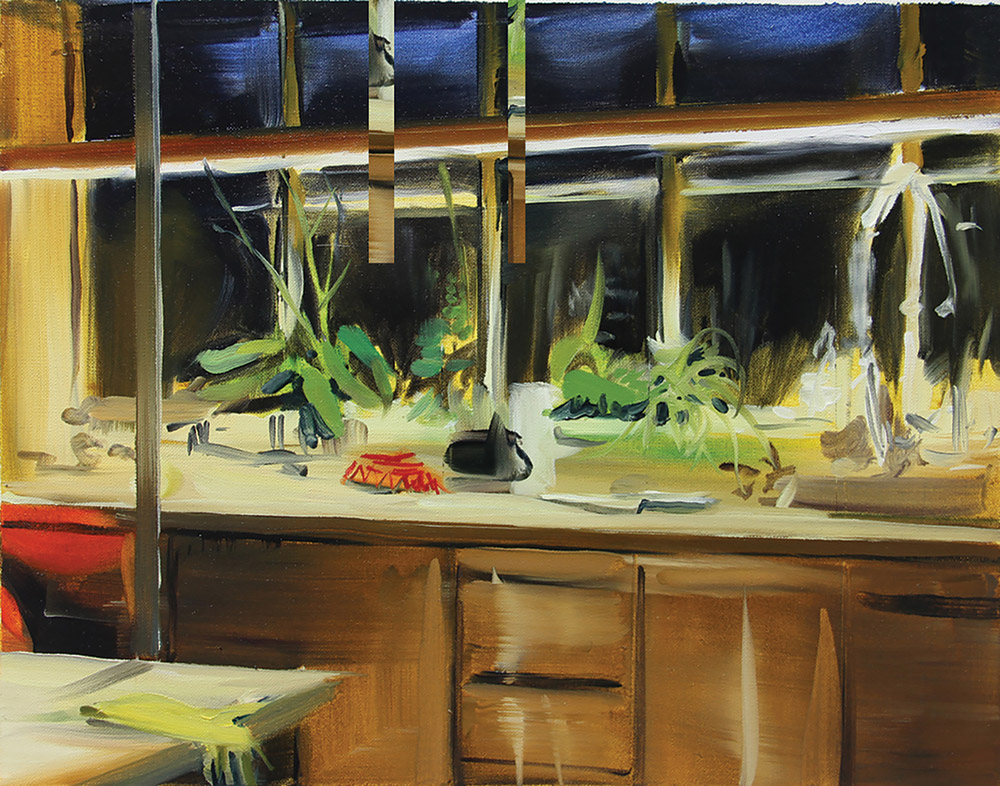 "2007 awardee Caroline Walker's painting ""Laboratory"" at the 10th anniversary exhibition in Royal Botanic Garden Edinburgh."